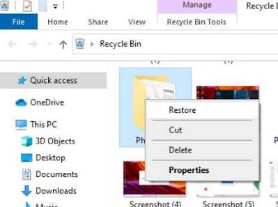 cara mengembalikan file yang terhapus di recycle bin