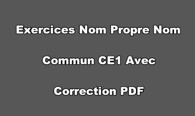 Exercices Nom Propre Nom Commun CE1 Avec Correction PDF