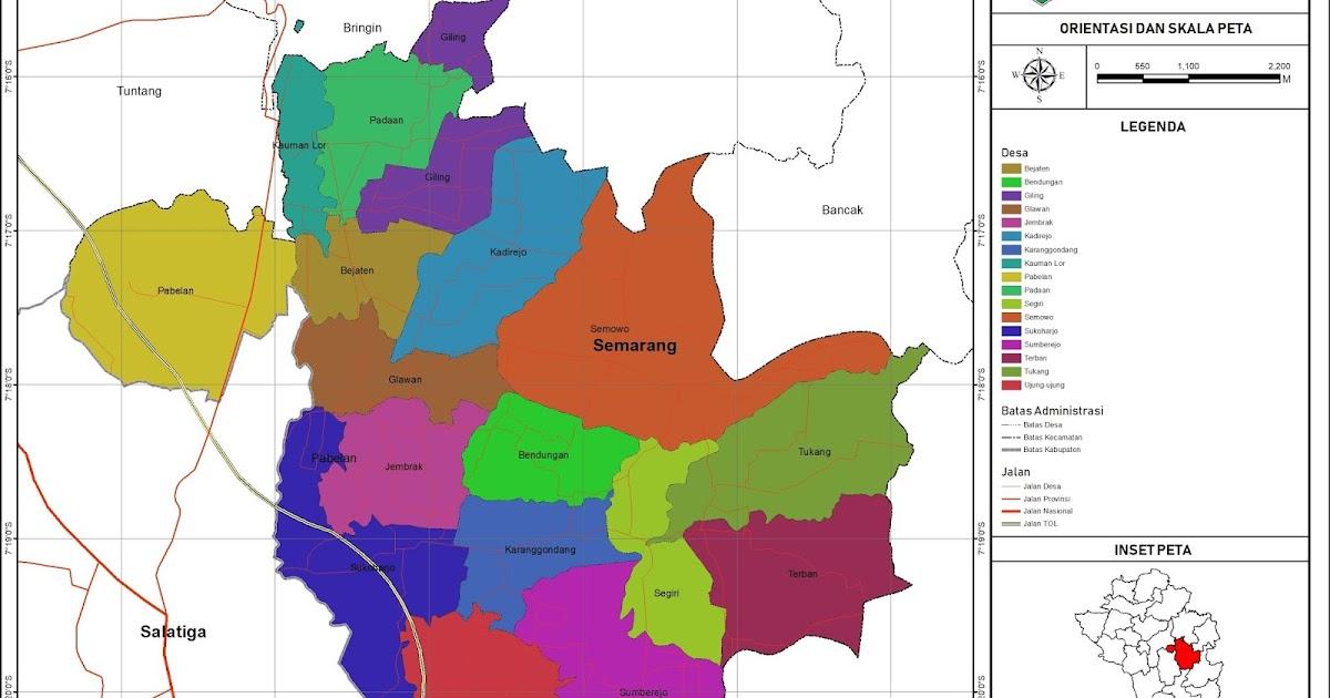 Peta Administrasi Kecamatan Pabelan, Kabupaten Semarang ...