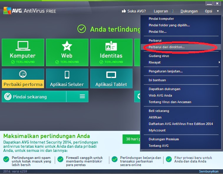 avg virus definition update offline