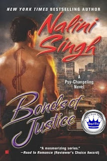 romance novel cover, paranormal romance, Bonds of Justice by Nalini Singh