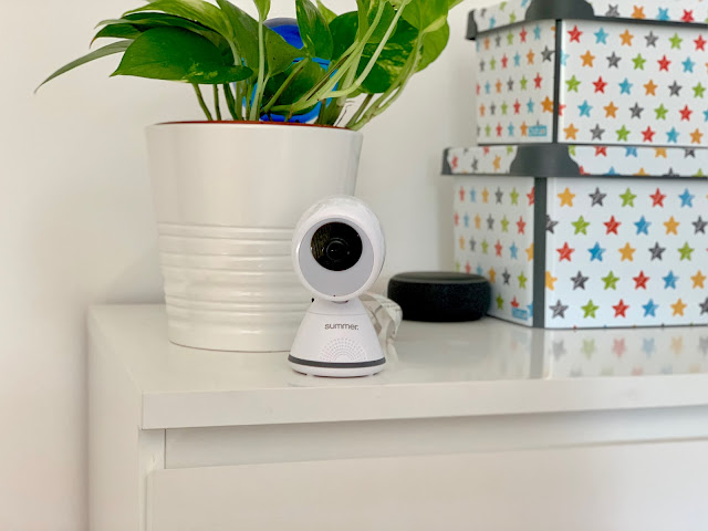 Summer Baby Monitor Camera on IKEA drawers with plant and Alexa in the background