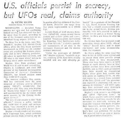 U.S. Officials Persist in Secrecy, But UFOs Real, Claims Authority - Portland, Oregonian 12-1-1973
