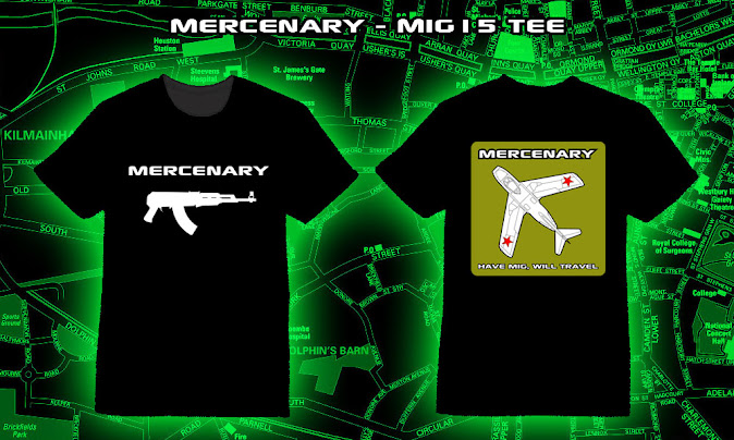 Mercenary MiG15 T-Shirt featuring the Mercenary AK logo on the front  and a MiG15 with the slogan 'Have MiG, Will Travel on the back - https://mercenary-garage.myshopify.com/