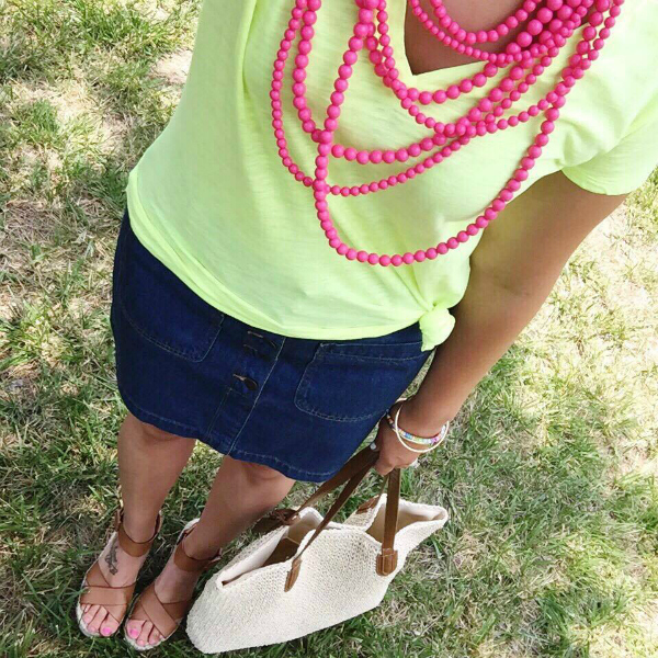 statement necklace, denim skirt