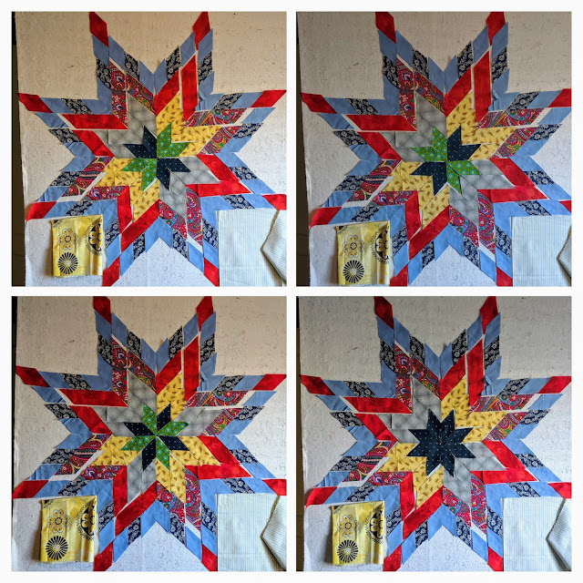 Photos show blue and green diamonds surrounded by yellow and blue diamonds to form the center of a Lone Star quilt