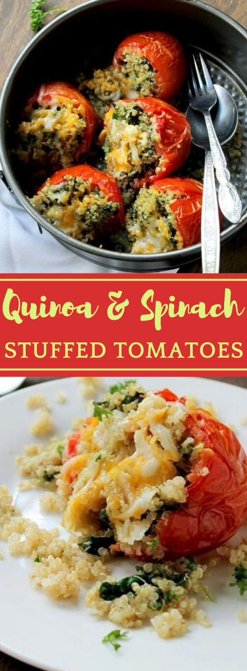 Quinoa and Spinach Stuffed Tomatoes #tomato #vegetarian #spinach #quinoa #breakfast