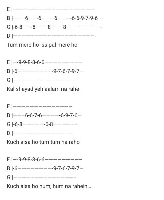 Main Phir Bhi Tumko Chahunga Tabs / Half Girlfriend / Guitar Tabs / Main Phir Bhi Tumko Chahunga Lead Notes / Hindi Songs Tabs / Arijit Singh | Shashaa Tirupati / Love Song Bollywood / Half Girlfriend Movie / Gaane / Guitar Tabs / Hindi Songs