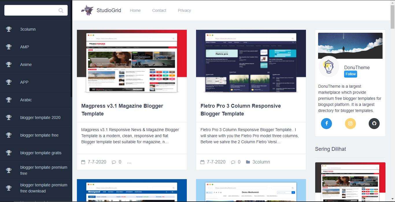 StudioGrid Premium Blogger Template Download