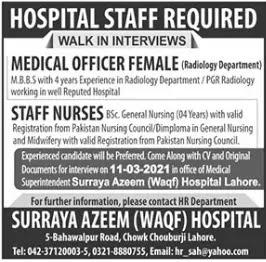 Surraya Azeem Waqf Hospital Lahore   Medical Jobs 2021