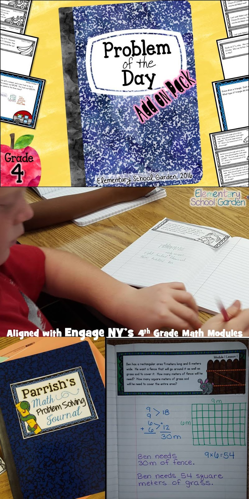 Worksheet Math Problem Of The Day 4th Grade elementary school garden problem of the day aligned with engage nys 4th grade math module application problems