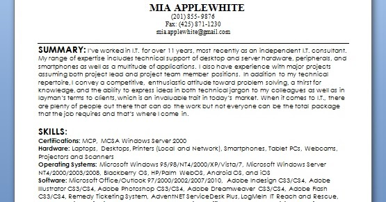 information technology consultant sample resume format in