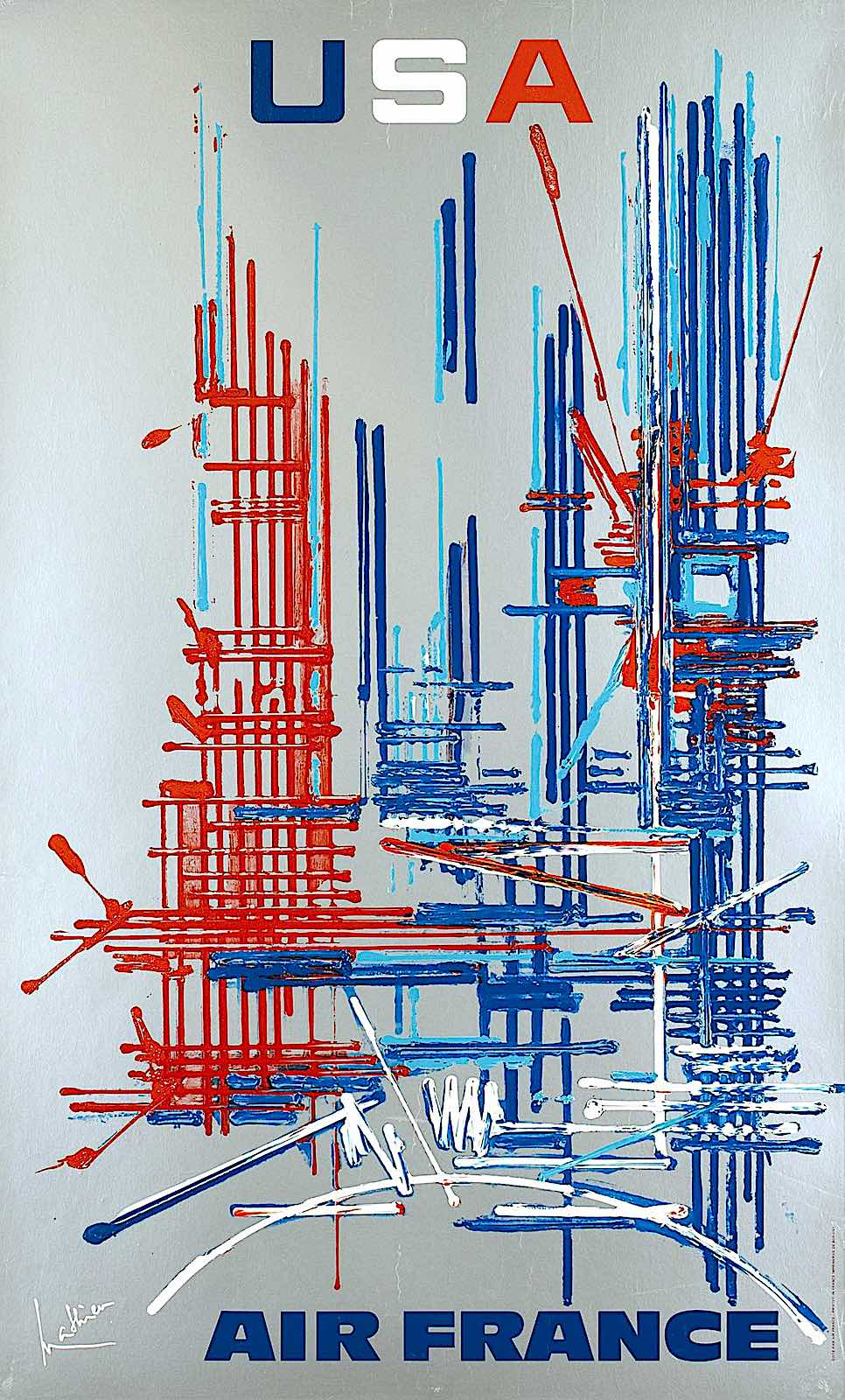 a Georges Mathieu poster for Air France 1968 in red white and blue