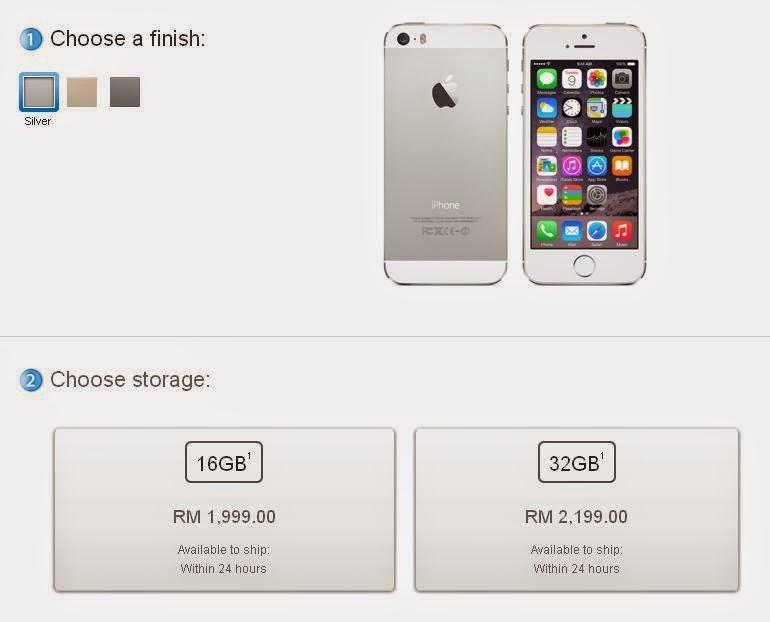 Harga iPhone 5S Di Malaysia - RM1999 (16GB) dan RM2199 (32GB)