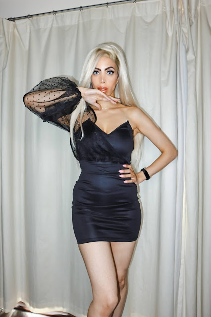 The Femme Luxe Black One Shoulder Organza Balloon Sleeve Mini Dress in model Shayne