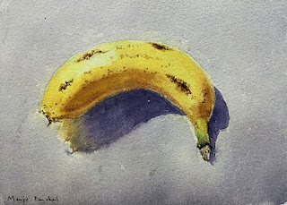 A still life, water color painting of banana by Indian artist Manju Panchal