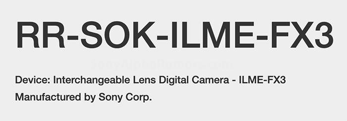 Название модели Sony ILME-FX3