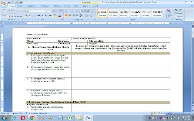 Format 1 evaluasi diri guru untuk rencana pengembangan keprofesian berkelanjutan
