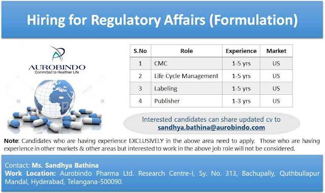 Urgent Job Openings for Regulatory Affairs @ Aurabindo Pharmaceuticals