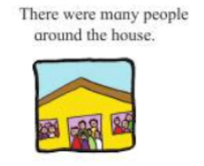Change the meaning of the sentence by changing the preposition.  There were many people around the house.