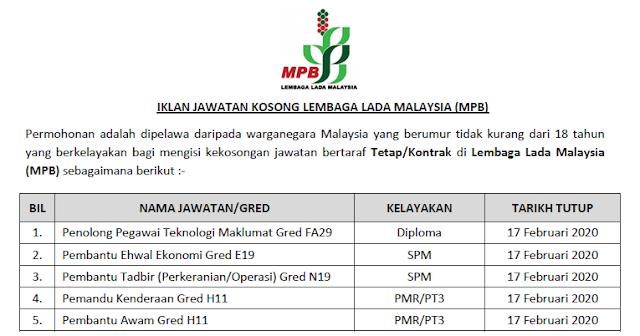 jawatan kosong lembaga lada malaysia 2020