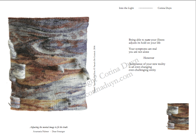 page from Into the Light by Corina Duyn, with tapestry image and quote about acceptance