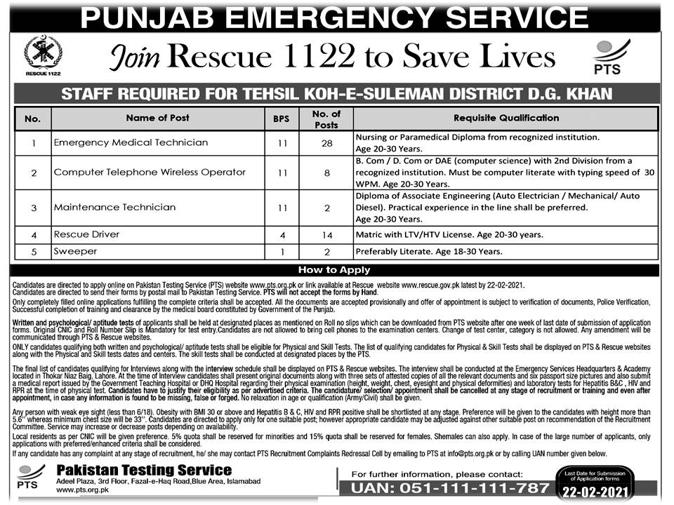 Join Rescue 1122 To save Live Punjab Emergency Service jobs