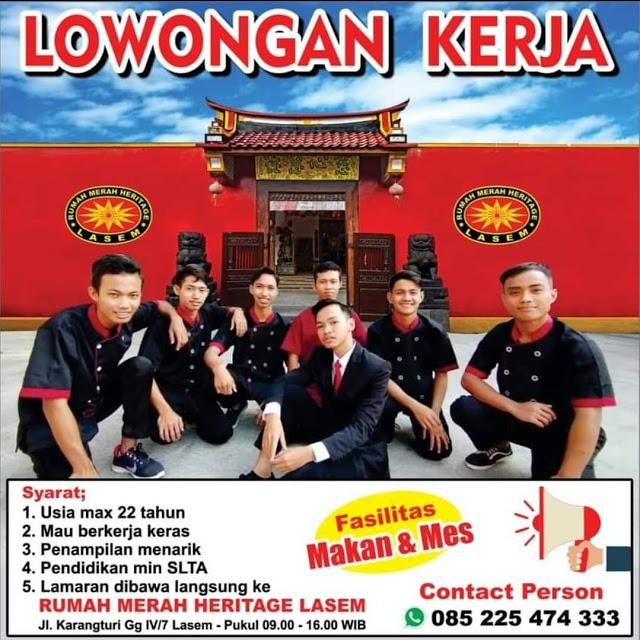 Lowongan Kerja Pegawai Rumah Merah Heritage Lasem Rembang