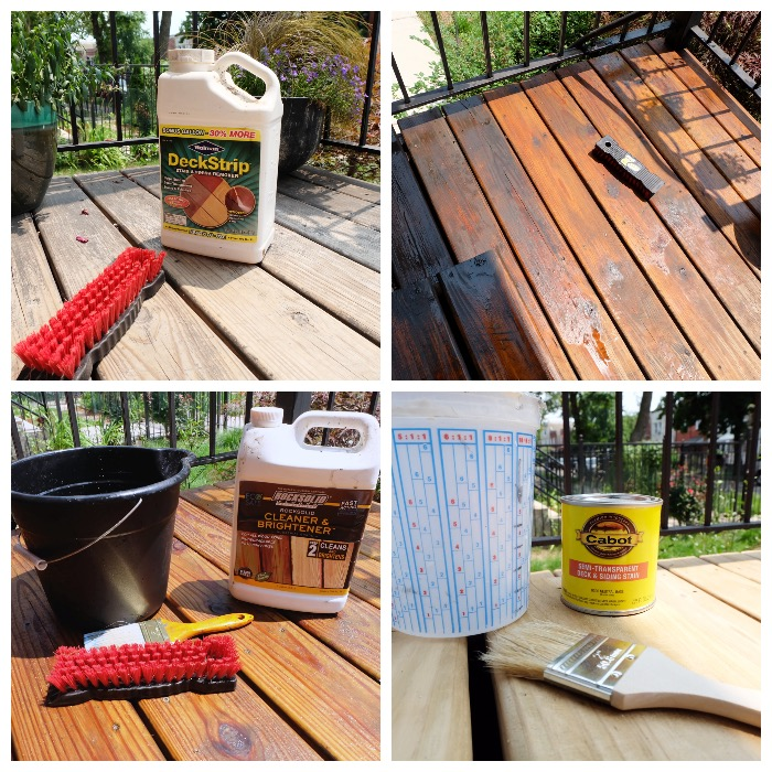 process of stripping old stain and prepping for new
