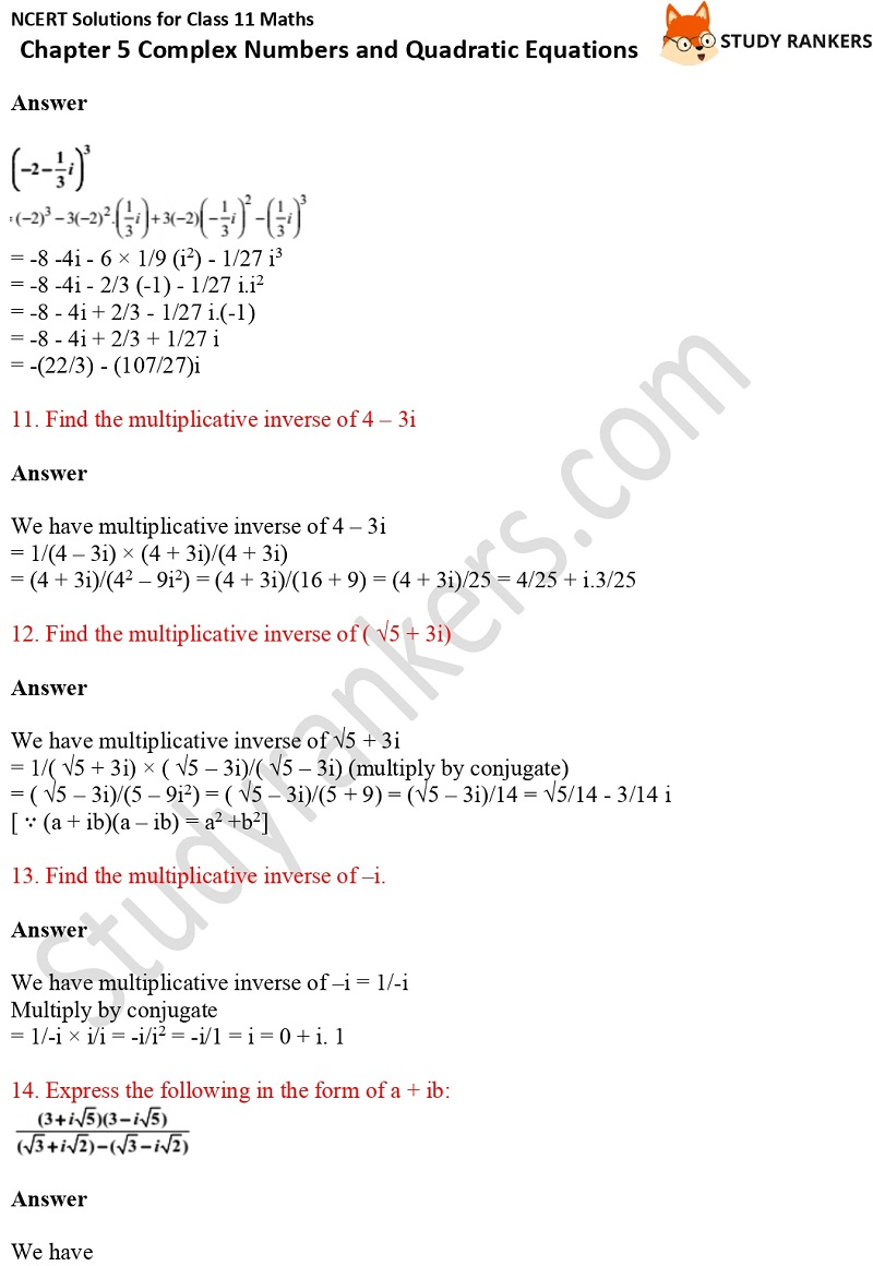 NCERT Solutions for Class 11 Maths Chapter 5 Complex Numbers and Quadratic Equations 3