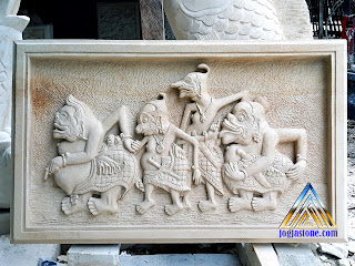 Ukiran Relief tempel dinding dari batu alam, batu putih gambar wayang punokawan