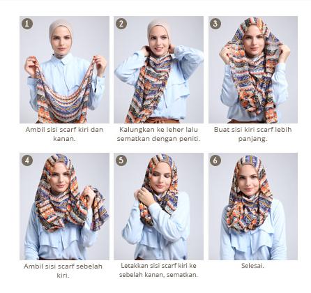 Tutorial Hijab Scarf Segi Empat Terbaru 2016