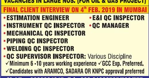 Latest welding inspection jobs