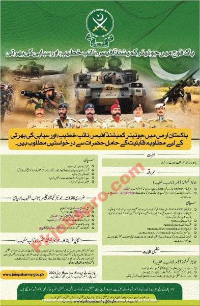 Pak Army Jobs as Commissioned Officer 2021