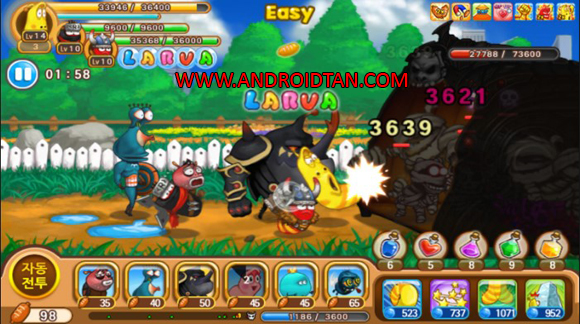 Larva Heroes Mod Apk Battle 2 Unlimited Gold/Candy