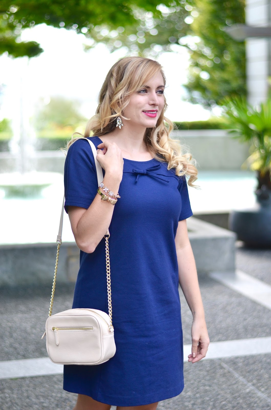 work day blue dress with bow