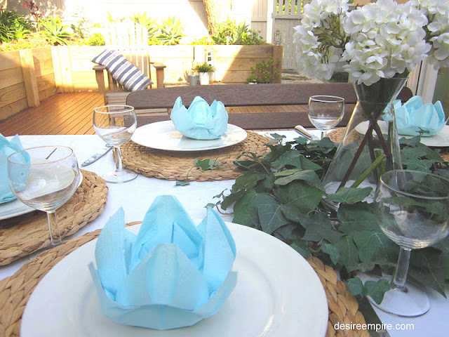 Blue And White Tablescape And How To Fold A Lotus Flower