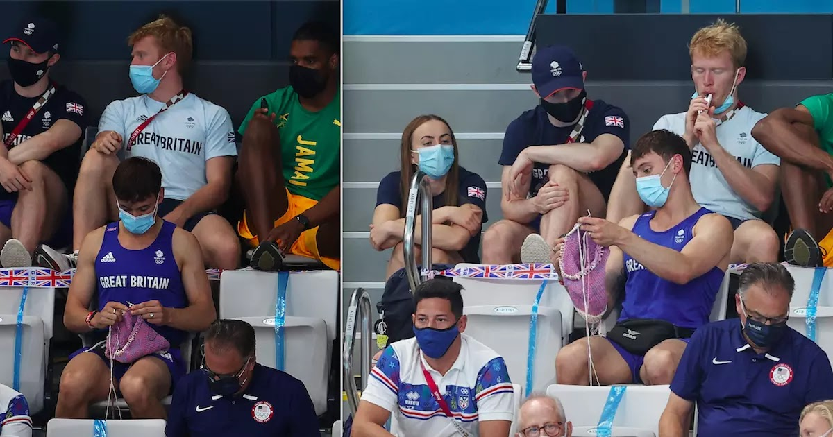 Gold Medallist Tom Daley Knits During Olympic Springboard Final