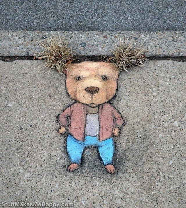 Artist David Zinn Turns the City into Beautiful Artwork