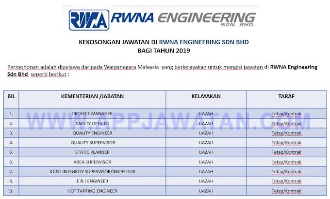 Jawatan Kosong Terkini di RWNA Engineering Sdn Bhd.