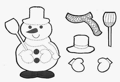 mono de nieve, colorear, recortar y armar