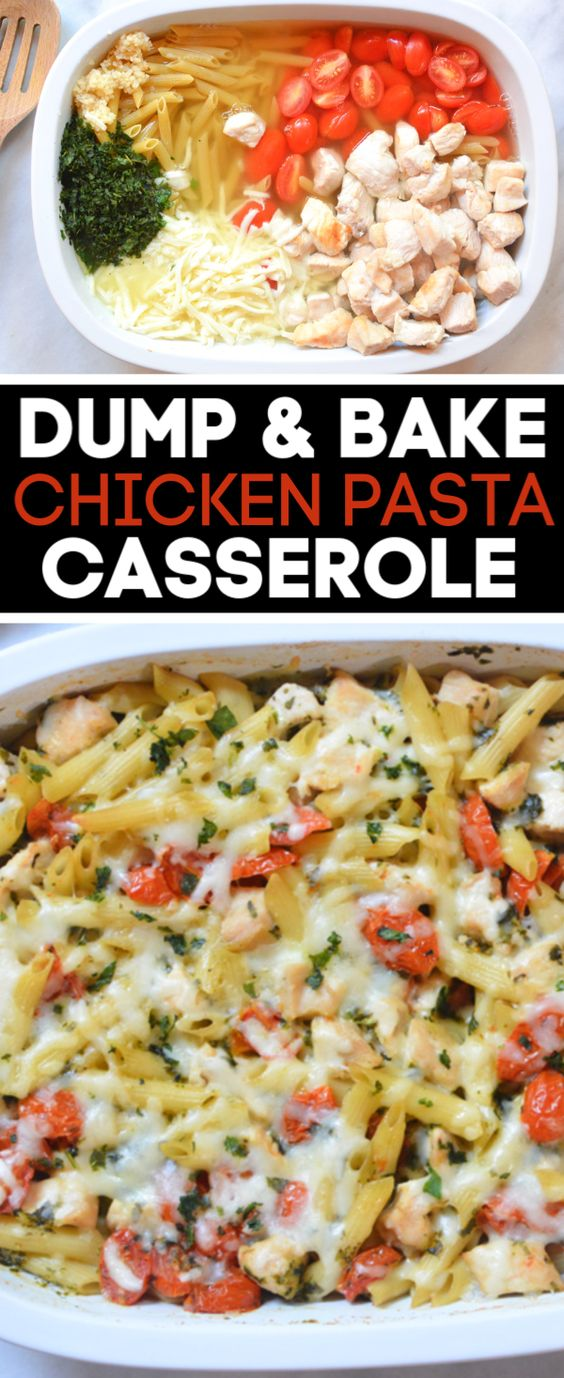 Dump and Bake Chicken Pasta Casserole
