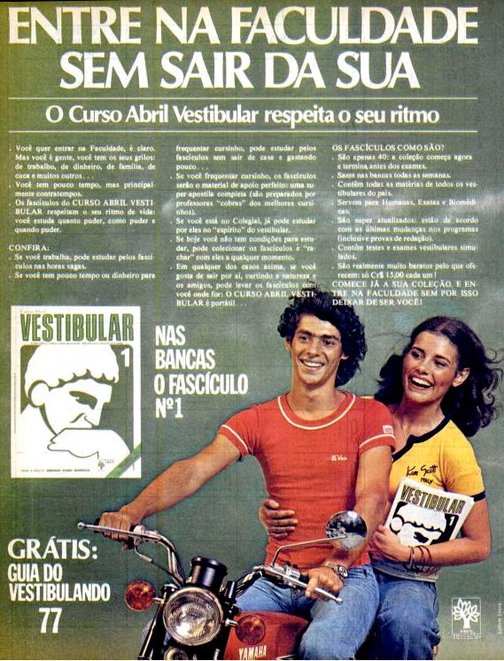 Propaganda antiga da Abril promovendo seu curso pré-vestibular em fascículos em 1977