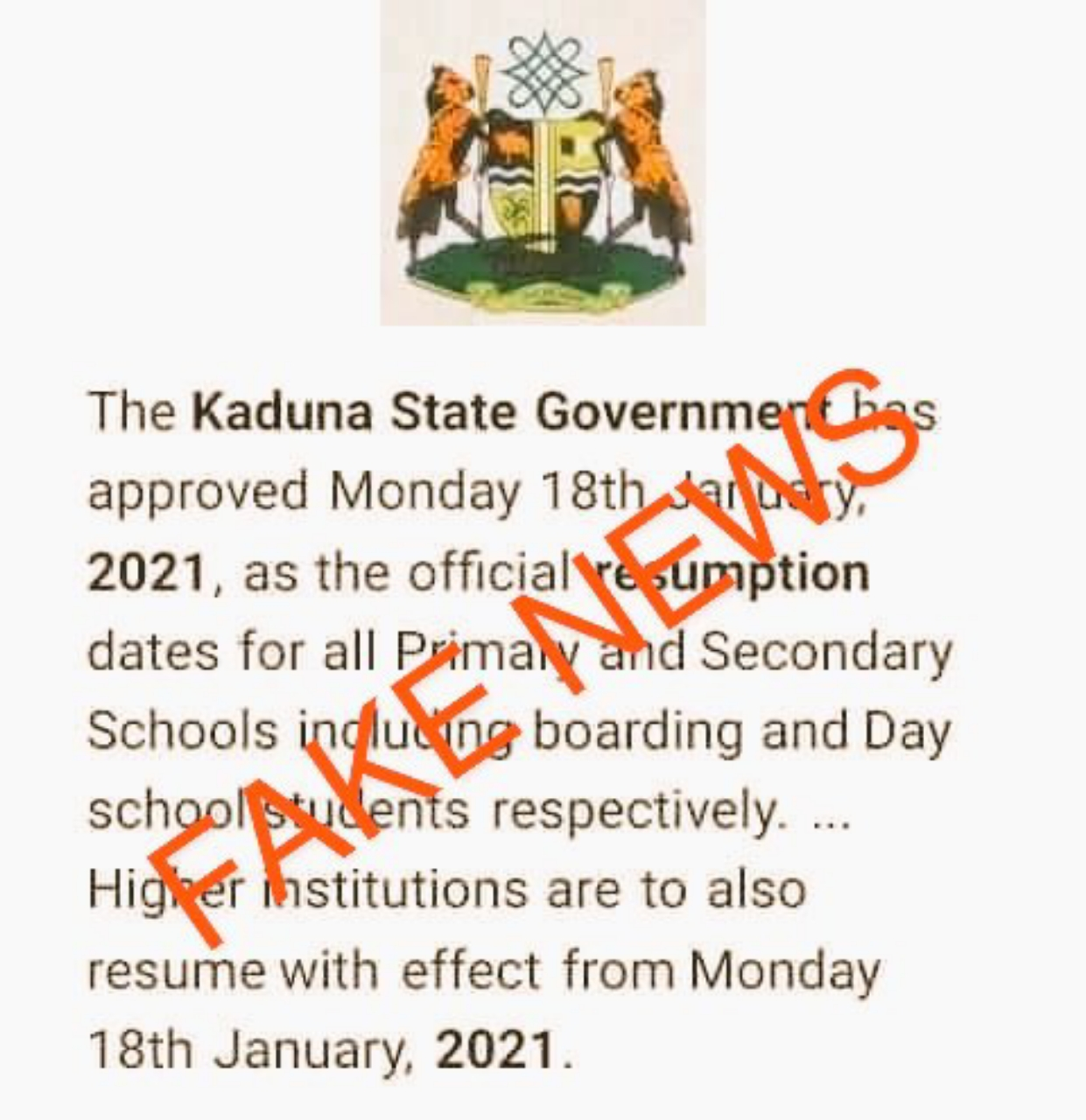 Schools in Kaduna State  not resuming on 18th January
