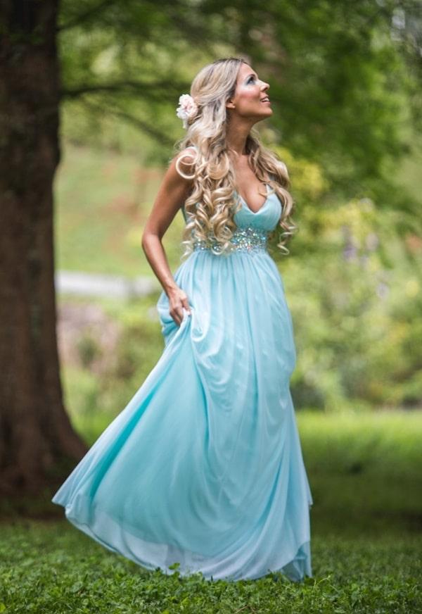 vestido longo azul serenity fluido