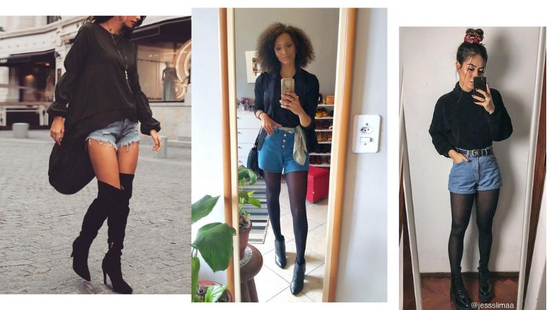 a imagem contém três modelos, a primeira usando shorts jeans curto com tricô preto pesado e comprido e botas pretas acima dos joelhos; a segunda usando shorts jeans curto com meia calça- camiseta, blazer e botas pretas e lenço amarrado como cinto; a terceira modelo usando tricô preto de gola alta, meia-calça e botas pretas e shorts jeans curto com cinto preto