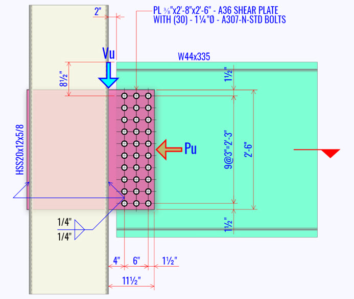 Beam To HSS Column Connection: SHEAR PLATE SUBJECT TO SHEAR & AXIAL