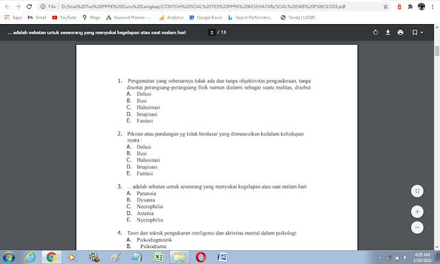Contoh soal tes P3K bidang psikologi dan kunci jawabannya