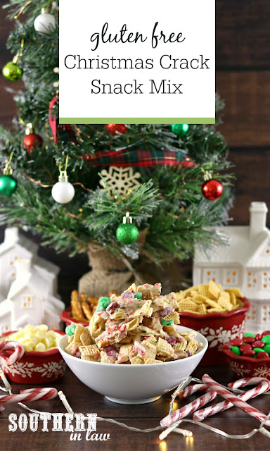 Easy Gluten Free Christmas Crack Snack Mix Recipe - Christmas Chex Mix, gluten free, white chocolate, candy canes, m&m's, Christmas crack Australia