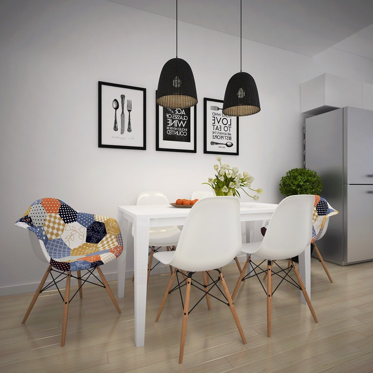 modern dining room decor with mid-century modern dining chairs